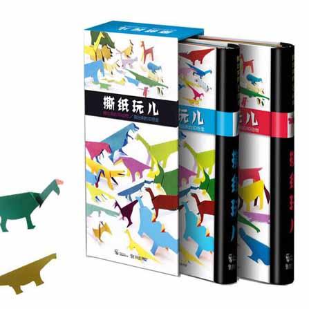 法国引进撕纸玩手工书撕出来的3d动物恐龙